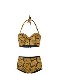 gelbes Bikinioberteil mit Blumenmuster von Maison Margiela