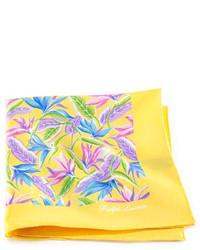 gelbes Einstecktuch mit Blumenmuster
