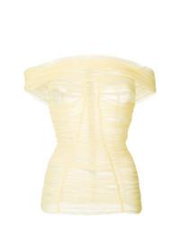 gelbes schulterfreies Oberteil mit Falten von Dolce & Gabbana