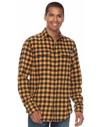 gelbes Flanell Langarmhemd mit Karomuster