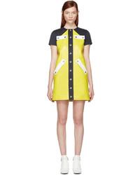 gelbes gerade geschnittenes Kleid aus Leder von Courreges