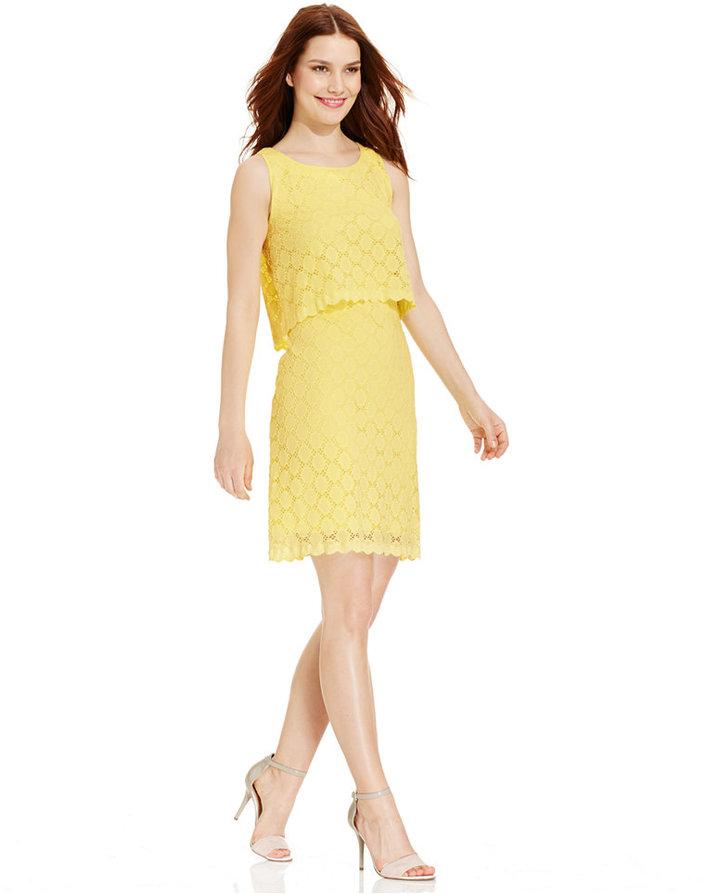 7f5fd62ffd76 gelbes gerade geschnittenes Kleid aus Spitze von Ronni Nicole   Wo ...