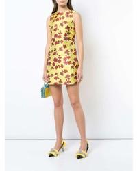 gelbes gerade geschnittenes Kleid mit Blumenmuster von Alice + Olivia