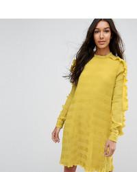 gelbes gerade geschnittenes Kleid mit Rüschen von Y.A.S Tall