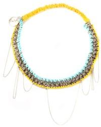 gelbes Haarband mit Blumenmuster von Maison Michel