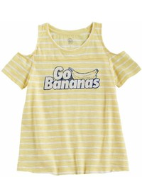 gelbes horizontal gestreiftes T-shirt