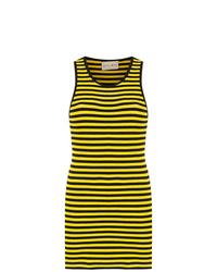 gelbes horizontal gestreiftes Trägerkleid von Andrea Bogosian