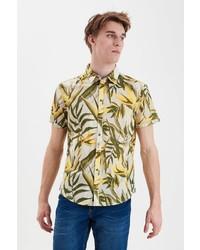 gelbes Kurzarmhemd mit Blumenmuster von BLEND