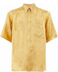 gelbes Kurzarmhemd mit Blumenmuster von Gucci