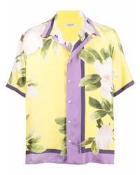 gelbes Kurzarmhemd mit Blumenmuster von Valentino