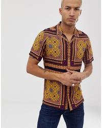 gelbes Kurzarmhemd mit Paisley-Muster von ASOS DESIGN