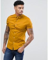 gelbes Kurzarmhemd von ASOS DESIGN