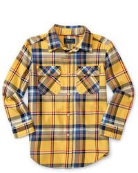 gelbes Langarmhemd mit Schottenmuster