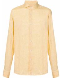 gelbes Leinen Langarmhemd