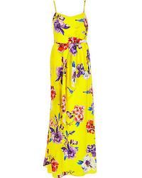 gelbes Maxikleid mit Blumenmuster