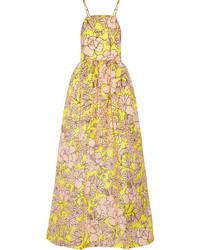 gelbes Maxikleid mit Blumenmuster von MSGM