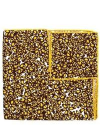 gelbes Seide Einstecktuch mit Blumenmuster