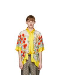 gelbes Seide Kurzarmhemd mit Blumenmuster von Gucci