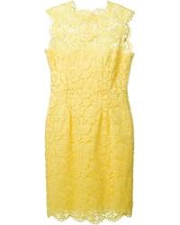 gelbes Spitze Etuikleid von Valentino