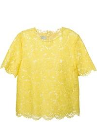 gelbes Spitze T-Shirt mit einem Rundhalsausschnitt von Valentino