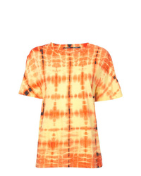gelbes Mit Batikmuster T-Shirt mit einem Rundhalsausschnitt von Proenza Schouler