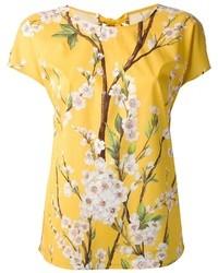 gelbes T-Shirt mit Rundhalsausschnitt mit Blumenmuster