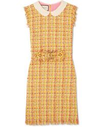 gelbes Tweed gerade geschnittenes Kleid von Gucci