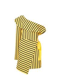 gelbes vertikal gestreiftes gerade geschnittenes Kleid von Goen.J