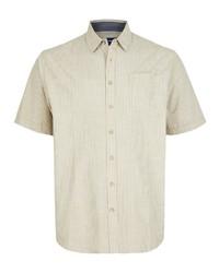 gelbes vertikal gestreiftes Kurzarmhemd von Big fashion