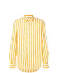 gelbes vertikal gestreiftes Langarmhemd
