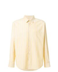 gelbes vertikal gestreiftes Langarmhemd von AMI Alexandre Mattiussi