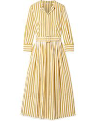 gelbes vertikal gestreiftes Shirtkleid von Oscar de la Renta