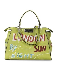 gelbgrüne bedruckte Shopper Tasche aus Leder von SURI FREY