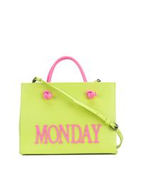 gelbgrüne bestickte Shopper Tasche aus Leder von Alberta Ferretti