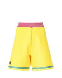 gelbgrüne bestickte Shorts von Marni