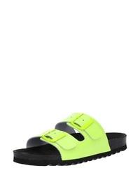 gelbgrüne flache Sandalen aus Leder von Vero Moda