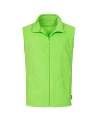 gelbgrüne Fleece-ärmellose Jacke von Stedman