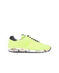 gelbgrüne Leder niedrige Sneakers