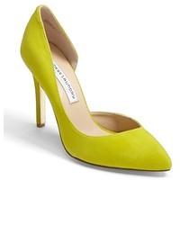 gelbgrüne Leder Pumps