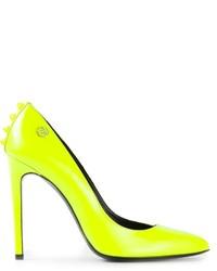 gelbgrüne Leder Pumps von Philipp Plein