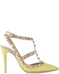 gelbgrüne Leder Pumps von Valentino Garavani