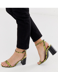 gelbgrüne Leder Sandaletten mit Schlangenmuster von ASOS DESIGN