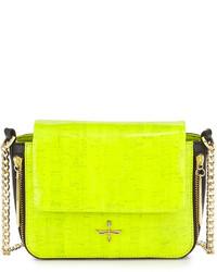gelbgrüne Leder Umhängetasche