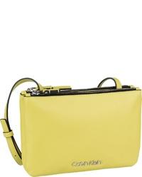 gelbgrüne Leder Umhängetasche von Calvin Klein