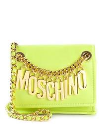 gelbgrüne Leder Umhängetasche von Moschino