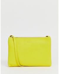 gelbgrüne Leder Umhängetasche von Ted Baker