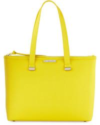gelbgrüne Shopper Tasche aus Leder