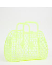 gelbgrüne Shopper Tasche aus Leder von Monki