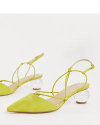 gelbgrüne Wildleder Pumps von ASOS DESIGN