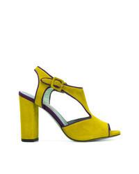 gelbgrüne Wildleder Sandaletten